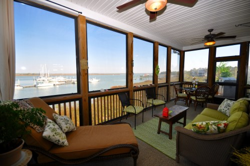 A marvelous waterfront porch that overlooks Sunset Cay Marina