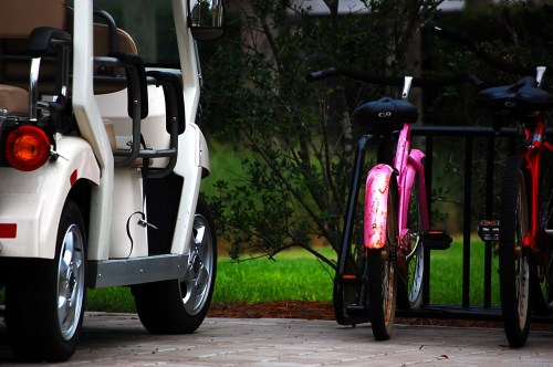 pink bike on sullivans island
