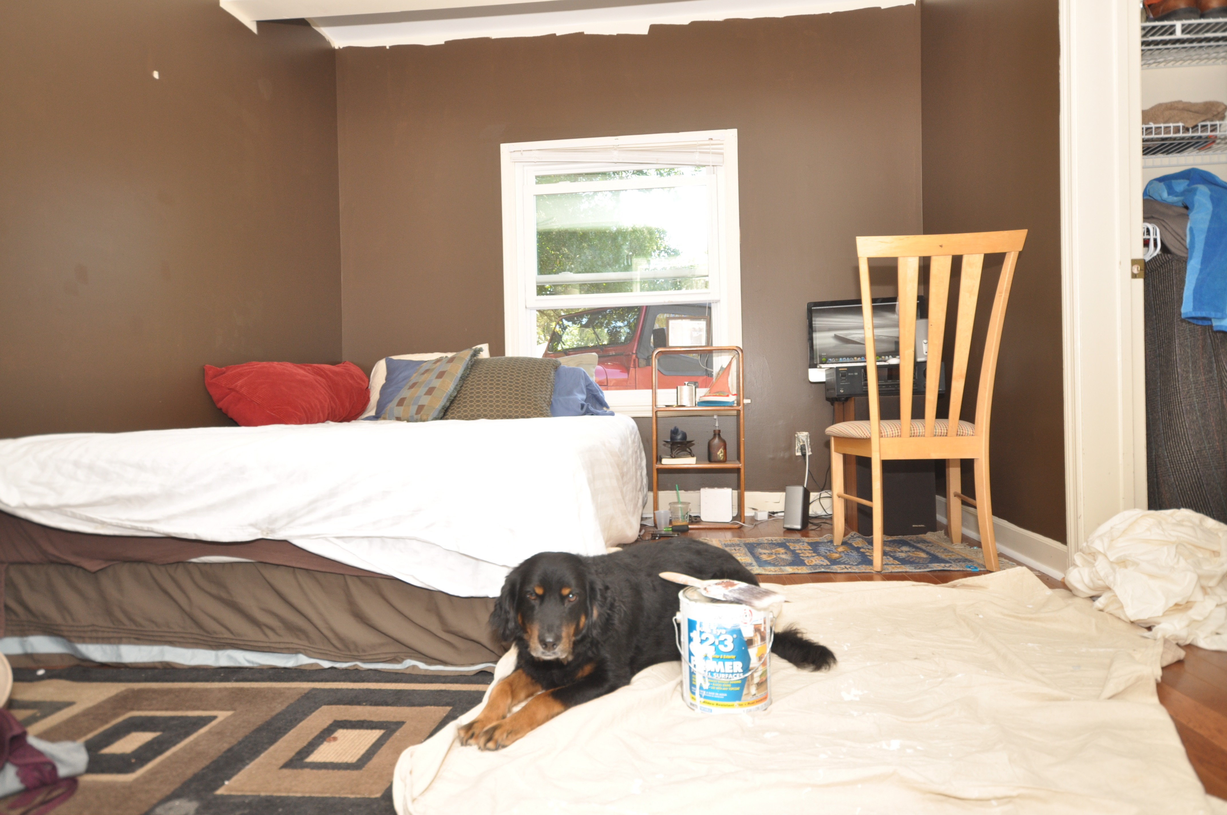 diy bedroom makeover. Primer and a dog diy  bedroom makeover on zero dollar budget The Charleston Porch