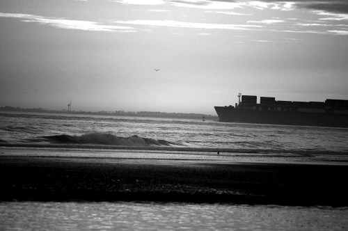 Container ship in B and W