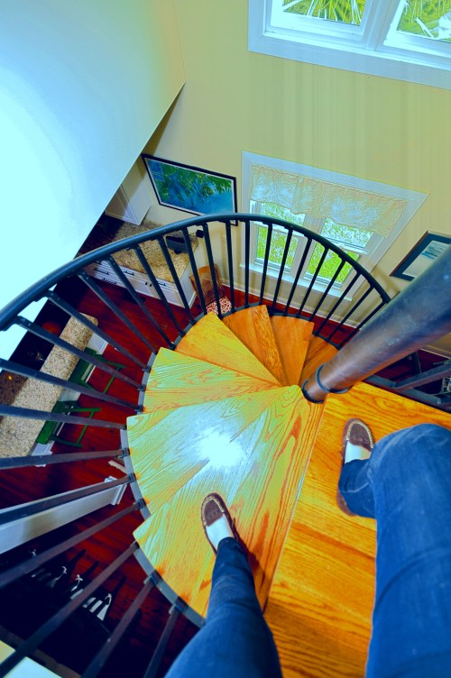 walking down a spiral staircase